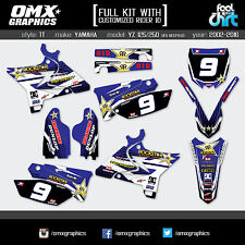 YAMAHA YZ 125 250 UFO STYLE 2002 2003 2004 FULL KIT Mx Graphics Stickers Decals