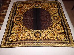Versace Foulard Seta Silk Scarf  Print Baroque Leopard 90 x 90