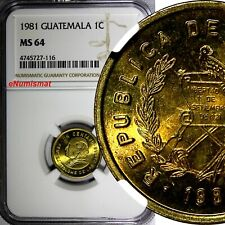 Guatemala Brass 1981 1 Centavo NGC MS64 TOP GRADED BY NGC KM# 275.4