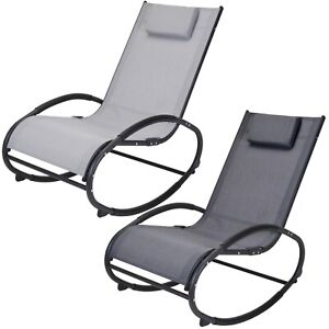 Comfortable Outdoor Garden Patio Metal Rocking Lounger Chair With Head Pillow
