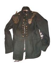 Unisex RARE  Ed Hardy Green Heavy Military coat M with shoulder level chains