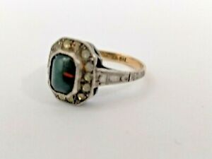 VINTAGE 9CT GOLD + SILVER RING. GREEN + CLEAR WHITE STONES.?BLOODSTONE.SIZE L.