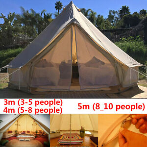 4 Season Family Camping Cotton Waterproof Canvas Bell Tent Glamping Yurt Tent