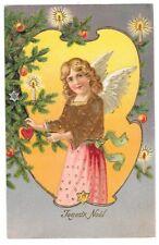 FANTAISIE NOEL carte postale ancienne gaufrée Ange Joyeux Noel sapin