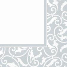 Ornamental Scroll Silver Wedding Anniversary Garden Party Luncheon Napkins