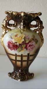 Antique Ceramic Vase Decorated Floral Italy Artwork Interior Showcase Excellent