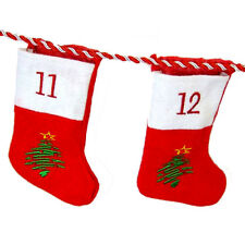 Advent Calender 24 Christmas Stockings Numbered Gift Bags & Hanging Braid NEW