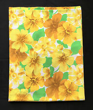 Wabasso 70s Vintage Gold Yellow Flower Power Floral Full Double Flat Bed Sheet