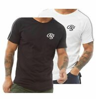 Mens Crosshatch Cotton Crew Short Sleeve Contrast T Shirt Sizes from S to XXL