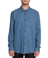Volcom Mens Shirt Blue Size 2XL Button Front Chest-Pocket Long-Sleeve $60 127