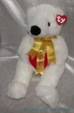 "Ty Classic Plush 14"" Fluffy White Romeo The Bear w/Heart & I Love You Golden Bow"