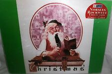 "Norman Rockwell Glass Cutting Board   15 "" x 11 3/4""  SANTA AT HIS DESK"