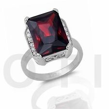 Large Garnet Red Emerald Cut Cocktail Genuine Sterling Silver Ring Size 4 - 12