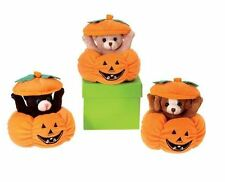 set of 3 Animals (2 bears/1 puppy) in Pumpkin plush, NEW by Fiesta Toys!