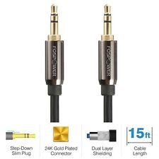15Ft Gold 3.5mm Male Aux Stereo Audio Headphone Car Cable Cord iPod Phone Mp3