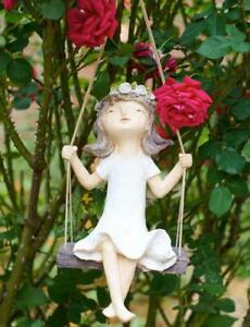 Kantenhocker Mädchen LUNA auf Schaukel Dekofigur Gartendeko Outdoor Figur