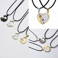 Valentine's Day Gift Stitching Couple Tai Ji Cat Heart Pendant Necklace Jewelry