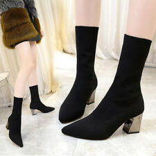 Womens Elastic Sock Stretch Ankle Boots Med Block Heels Autumn Fashion Shoes NEW