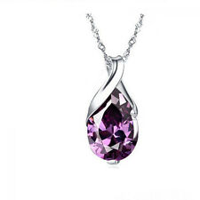 Silver Plated Women Natural Stone Necklace Crystal Amethyst Pendant