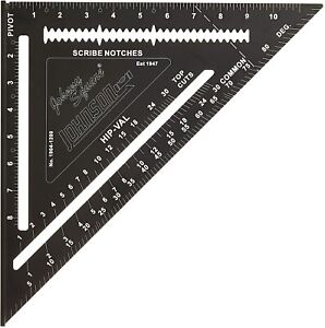 """JOHNSON JOHNNY 12"""" Speed Roofing Rafter Square Laser Etched Heavy Duty Rip Deg"""