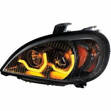 Freightliner Columbia Projection Headlight w/ Dual LED Light, Blackout - Driver