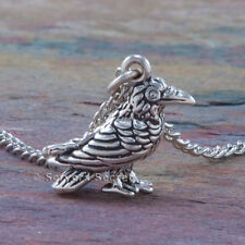 RAVEN sterling silver Crow Charm Magical Pendant Necklace 925 3D