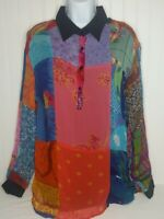 Sacred Threads Rayon Patchwork  Bohemian Layered Tunic Top Blouse Sz: Small