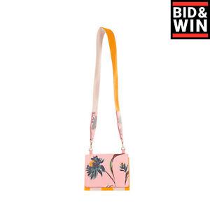 RRP €990 PAUL SMITH Leather Shoulder Clutch Bag Floral Pattern Contrast Canvas