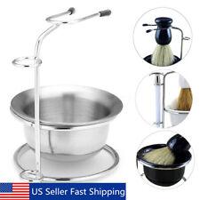 Stainless Steel Shaving Brush Safety Razor Stand Soap Bowl Holder Travel Set US