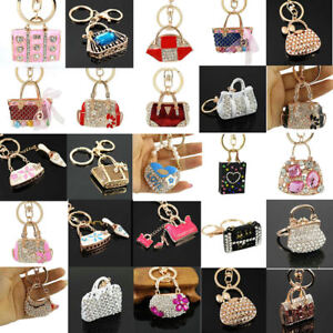 Hot Crystal Rhinestone Keyring Keychain Charm Pendant Bag Purse Car Key Chain