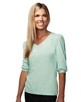 Tri-Mountain Women's 3/4 Sleeve V Neck Knit Sleeves Back Yoke T-Shirt. 137
