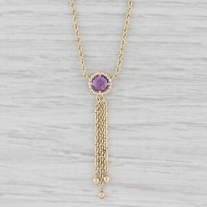 "Amethyst Lariat Pendant Necklace 10k Yellow Gold 20"" Rope Chain"
