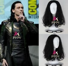 The Avengers Loki Wig Men's Long Curly Black Movie Anime Cosplay Wig A60