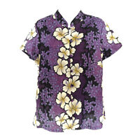 Hilo Hattie Hawaiian Original Shirt Blouse Women's M Short Sleeve Floral Cotton