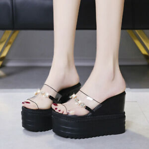 Womens Rhinestone High Heels Peep Toe Clear Slippers Thick Platform Sandals Shoe