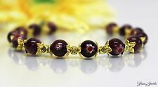 Glass Jewels Gold Armband Perlen Millefiori Violett Lila Länge 21,5 cm #HA011