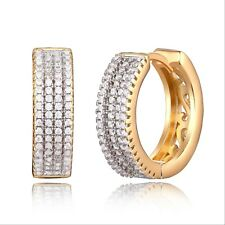 Gold Plated Gold Cubic Zirconia 15mm Swirl Cut-Out Huggie-Hoop Earrings