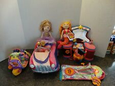 GROOVY GIRLS LOT Large Car Scooter Vanity Sleeping Bag + Dolls  Nice condition