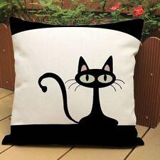 Bedding Linen Cotton Pillowcase Cute Black Cat Pillow Cover Home Sofa Decor