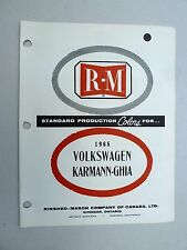 1965 Volkswagen Karmann- Ghia R-M paint chip color guide