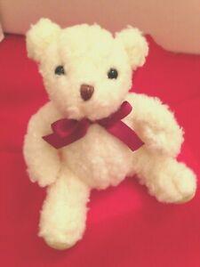"Russ Berrie 5"" Bear Faux Curly Lamb Fur Stuffed Plush Cream Collectible Animal"
