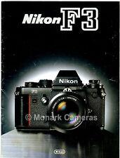 Nikon f3 fotocamera e obiettivo brochure gamma, più cataloghi vendita rivenditore elencati