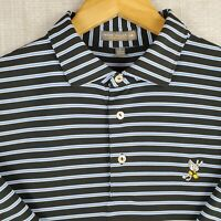 PETER MILLAR x WINGED FOOT Large Mens Summer Comfort Black Striped Polo Shirt