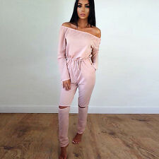 Women Long Sleeve Plain Jumpsuit 2pcs Set Top Pants Set Gym Jogging Tracksuit