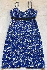 Scanlan Theodore Women's Dress, Size 8, Sleeveless Blue & White Floral, Delicate