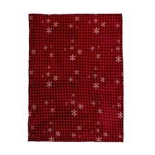 "Christmas Holiday Red Black Plaid Check Snowflakes Throw Blanket 50"" x 60"""