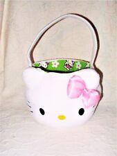 """2006 Sanrio Hello Kitty White Kitty Face 12"""" Plush Easter Basket w/ Liner EUC"""