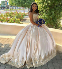 2021 Luxury Gold Appliques Ball GownQuinceanera Dresses Long Prom Evening Gowns