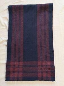 GUCCI Men's Dark Blue Red Tartan Check Wool Scarf 188 x 26cm Good Used Condition