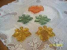 Leaf Shaped Pressed Glass Vintage 5 Nesting Dishes, 2 Amber, 2 Green and 1 Peach